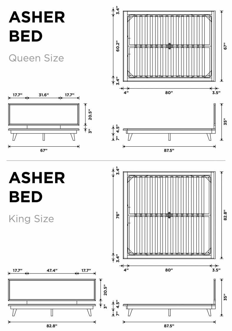 Dimensions for Asher Bed