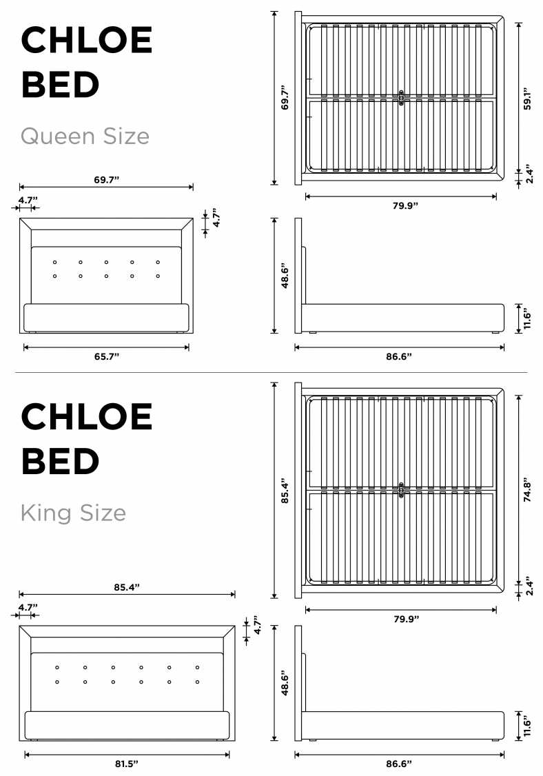 Dimensions for Chloe Bed