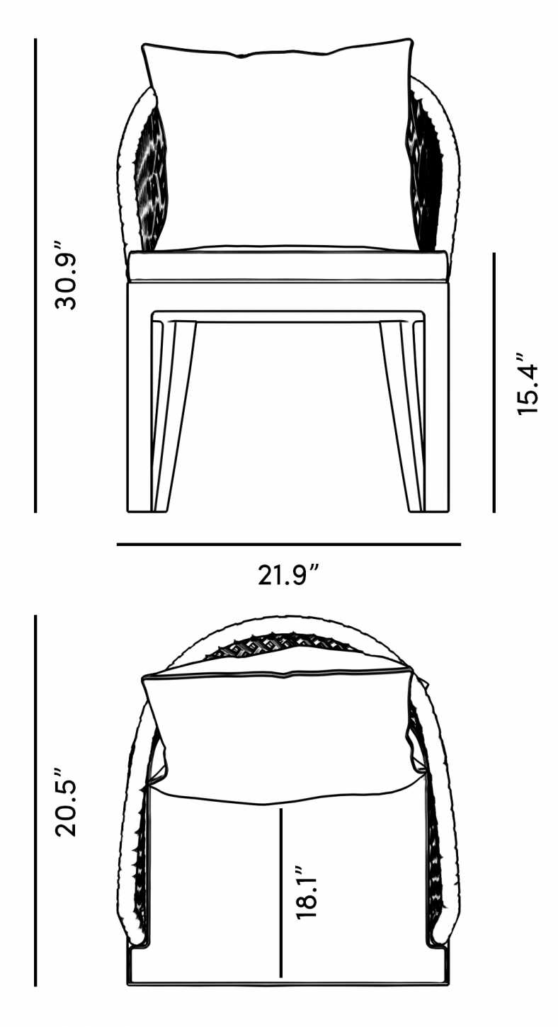 Dimensions for Isabella Dining Chair - Set of 2