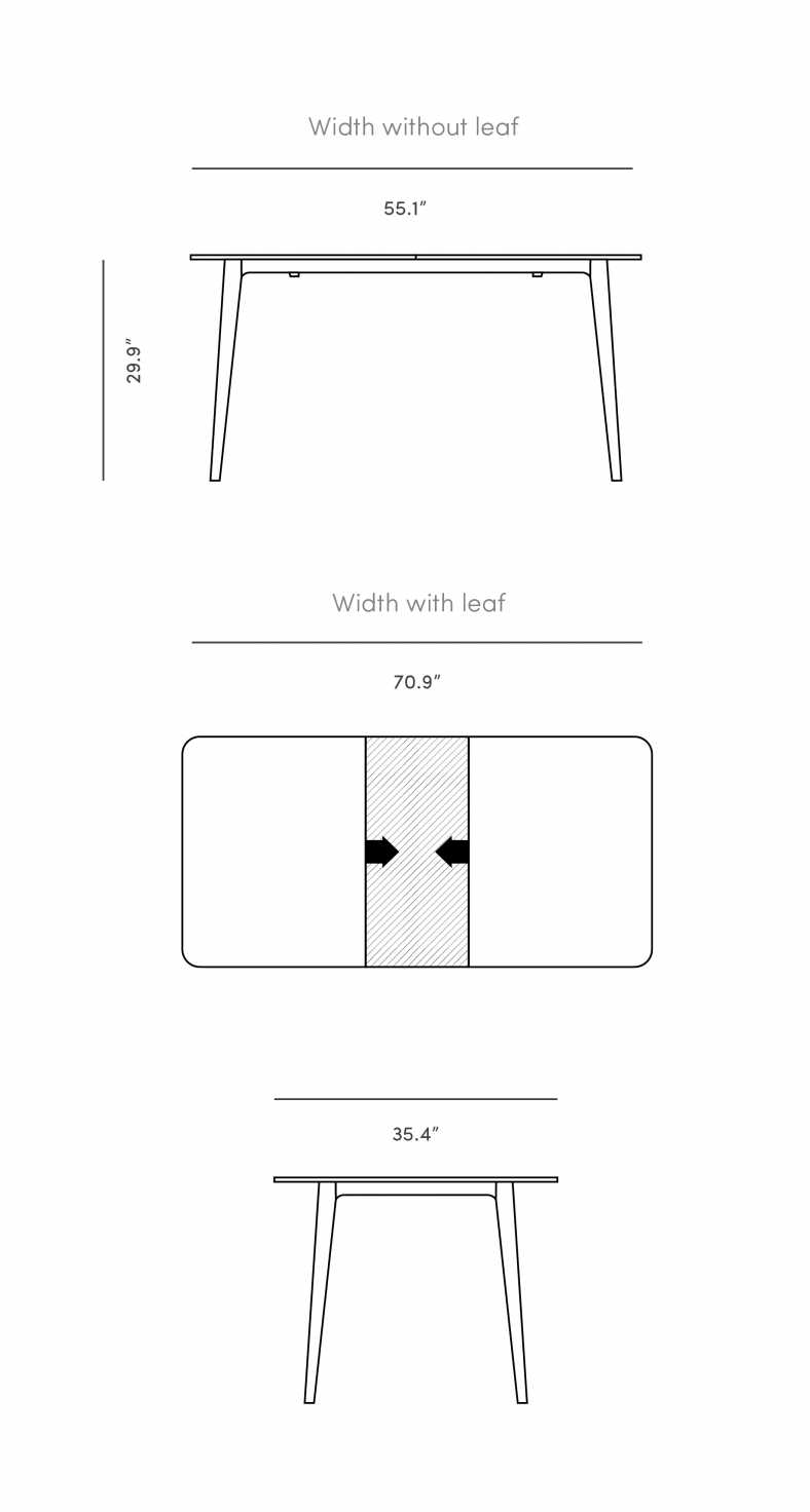 Dimensions for Marcus Dining Table