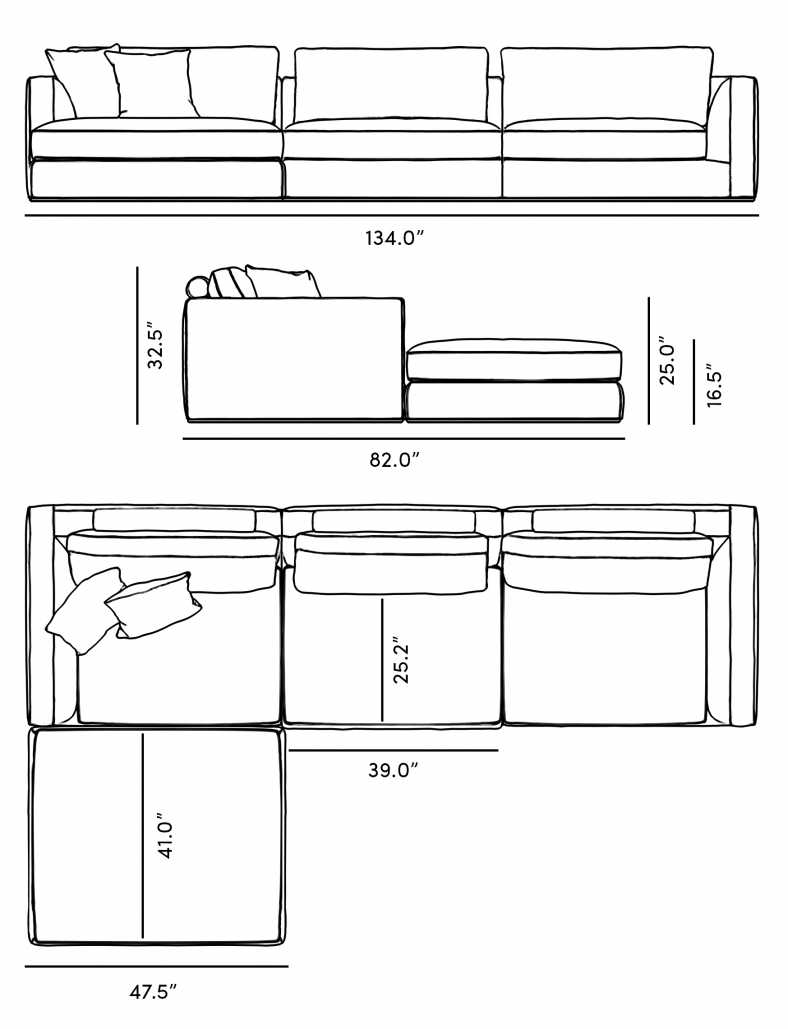 Dimensions for Milo Modular Sectional