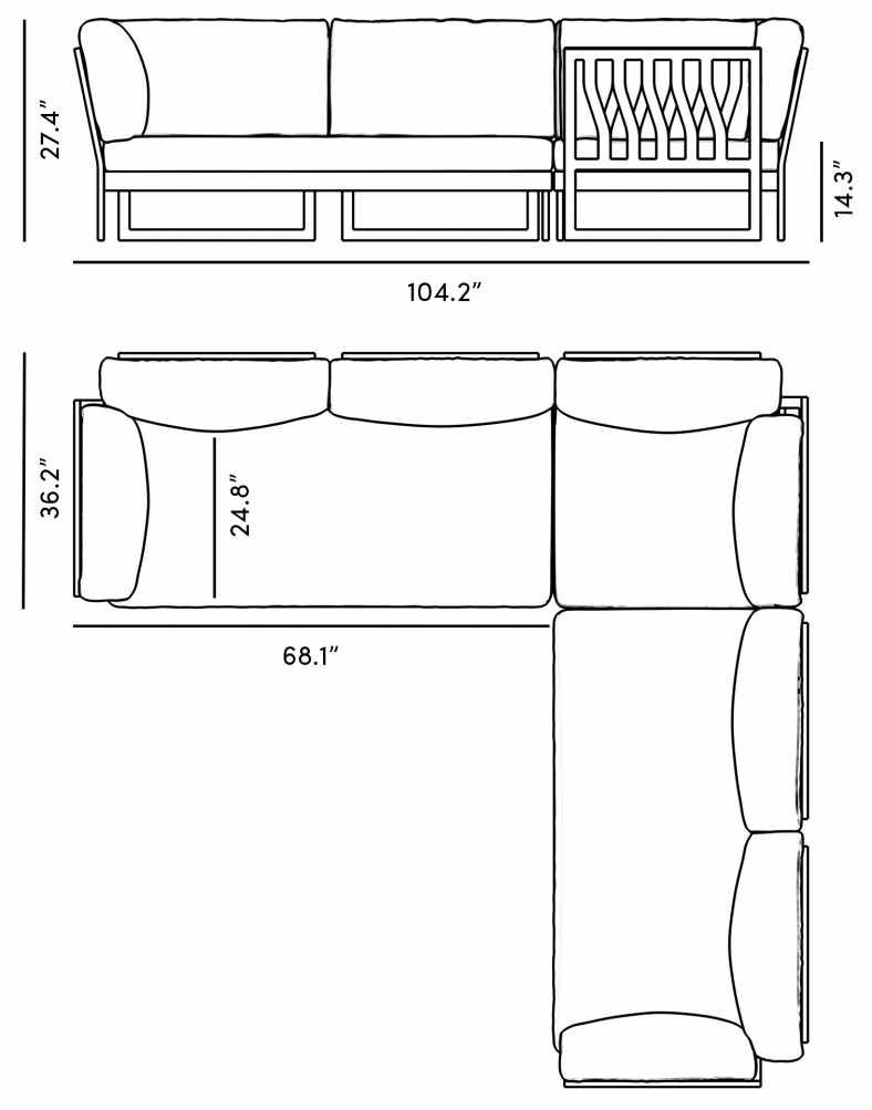 Dimensions for Olivia Sectional