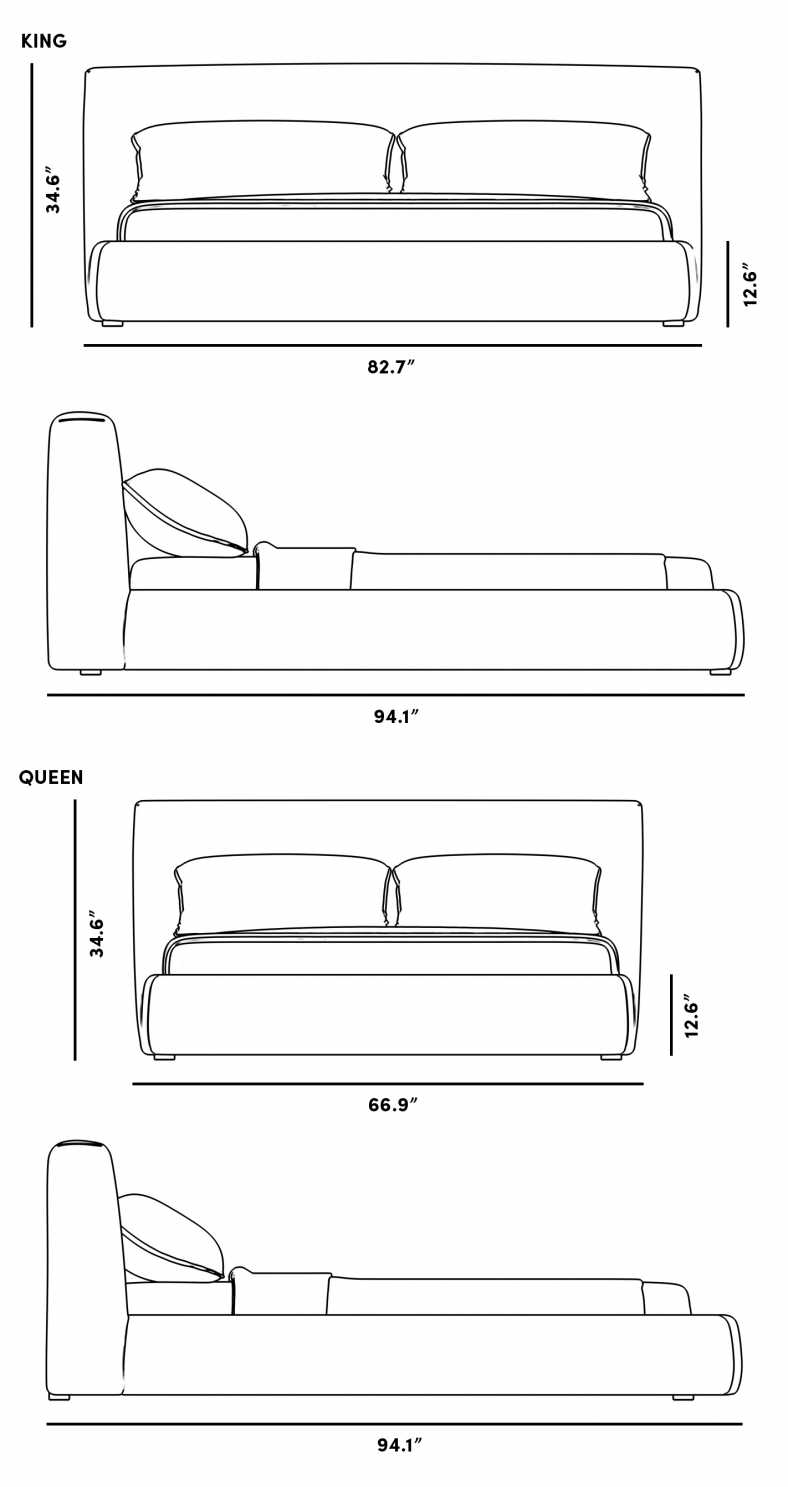 Dimensions for Ophelia Bed
